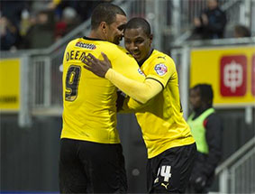 Watford's Troy Deeney and Odion Ighalo, Ighalo is set to return for the Hornets on Tuesday. (Picture courtesy of Watford FC, www.watfordfc.com)