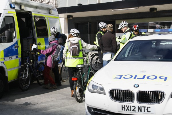 Police give cyclists advice on road safety.
