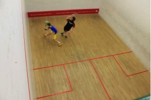 Solent Squash captain Callum Greasley in action