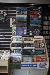 Selection of vinyls on offer in the Oxfam record store.