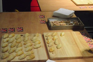 Canapes for the guests were laid out.