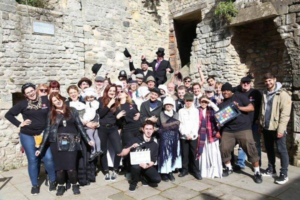 The cast and crew on set of The Adventures of Rosanna Cross