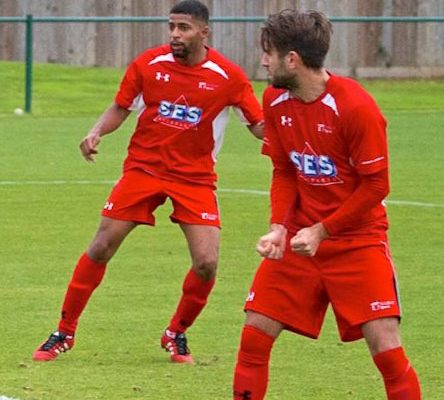 Jamal (left) in action against Sholing last Saturday  Photo credit: Ray Routledge