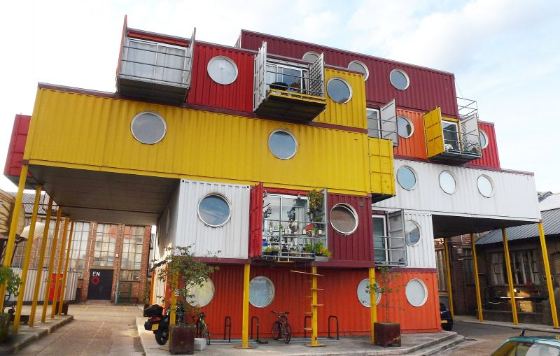It's quirky, but shipping container homes are cheap to build, and last a lifetime. Sourced: By Cmglee (Own work) [CC BY-SA 3.0 (http://creativecommons.org/licenses/by-sa/3.0)