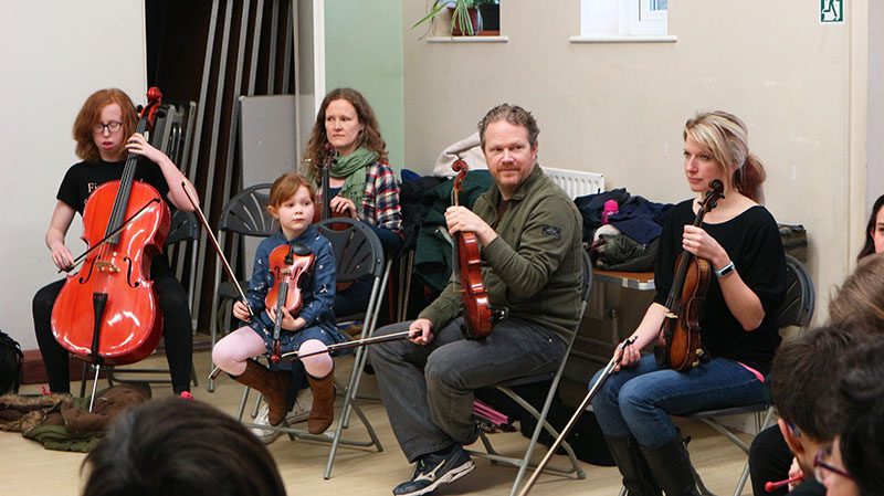 People of all ages attended the Family Orchestra workshop.