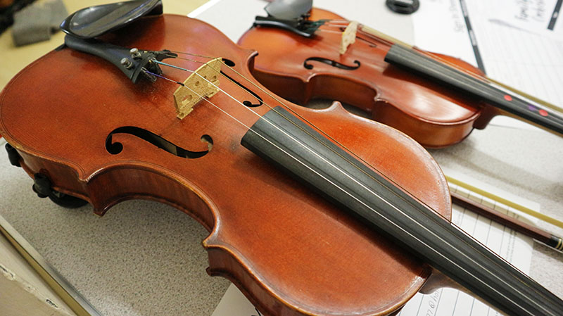 Instruments of all sorts were played, including both violas and violins.