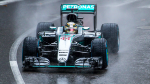 Lewis Hamilton in the wet