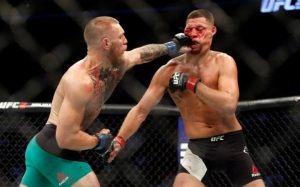 Conor McGregor in action against Nate Diaz Via: @TheNotoriousMMA