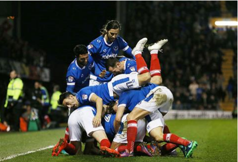Pompey celebrate cementing their third place position on Tuesday