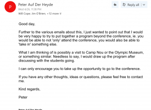 Email from Auf Der Heyde to all students- leaked by Baldeep Chahal
