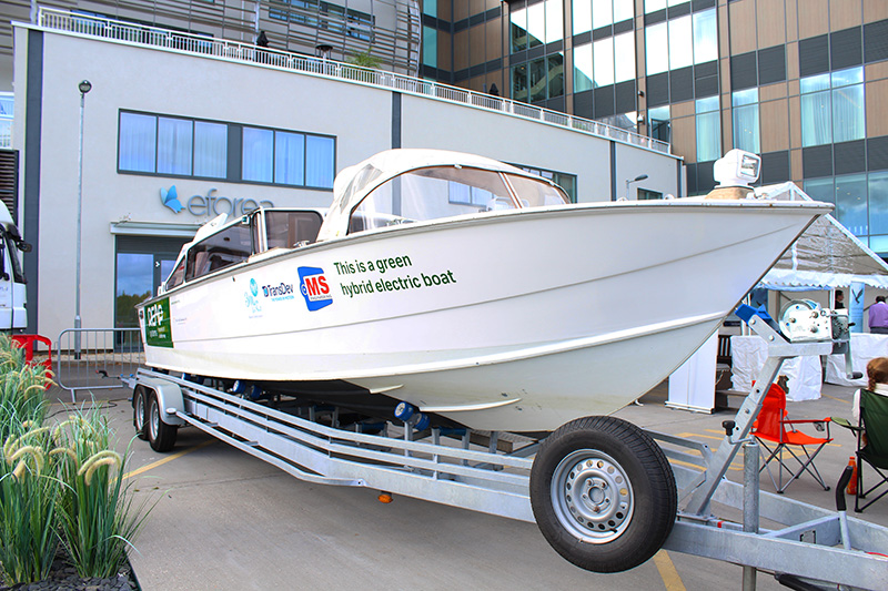 The boat combines diesel with an electric motor.