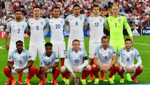 England line up for a world cup qualifier.