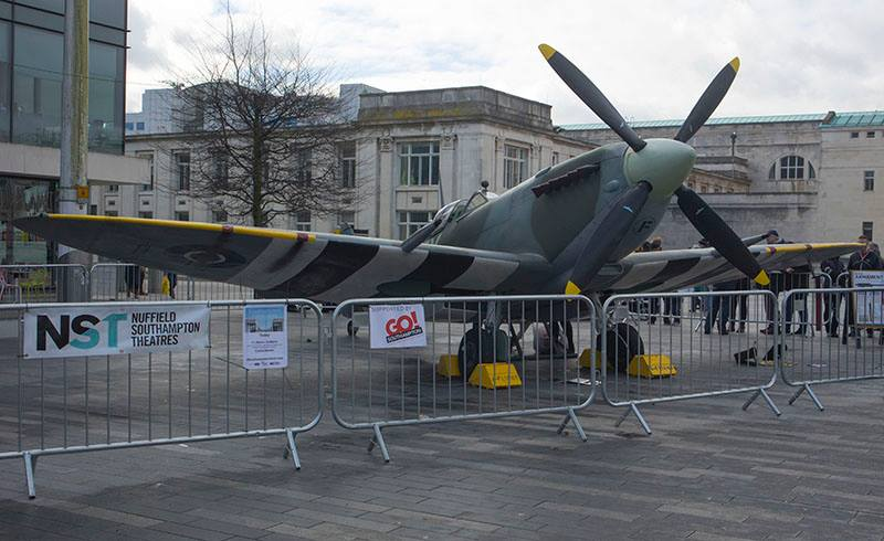 Amongst the activities of Saturday's opening, a Spitfire aircraft was on show in Guildhall Square.
