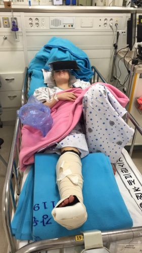 Ormerod in a South Korean hospital post operation. -Twitter @ormerodkatie