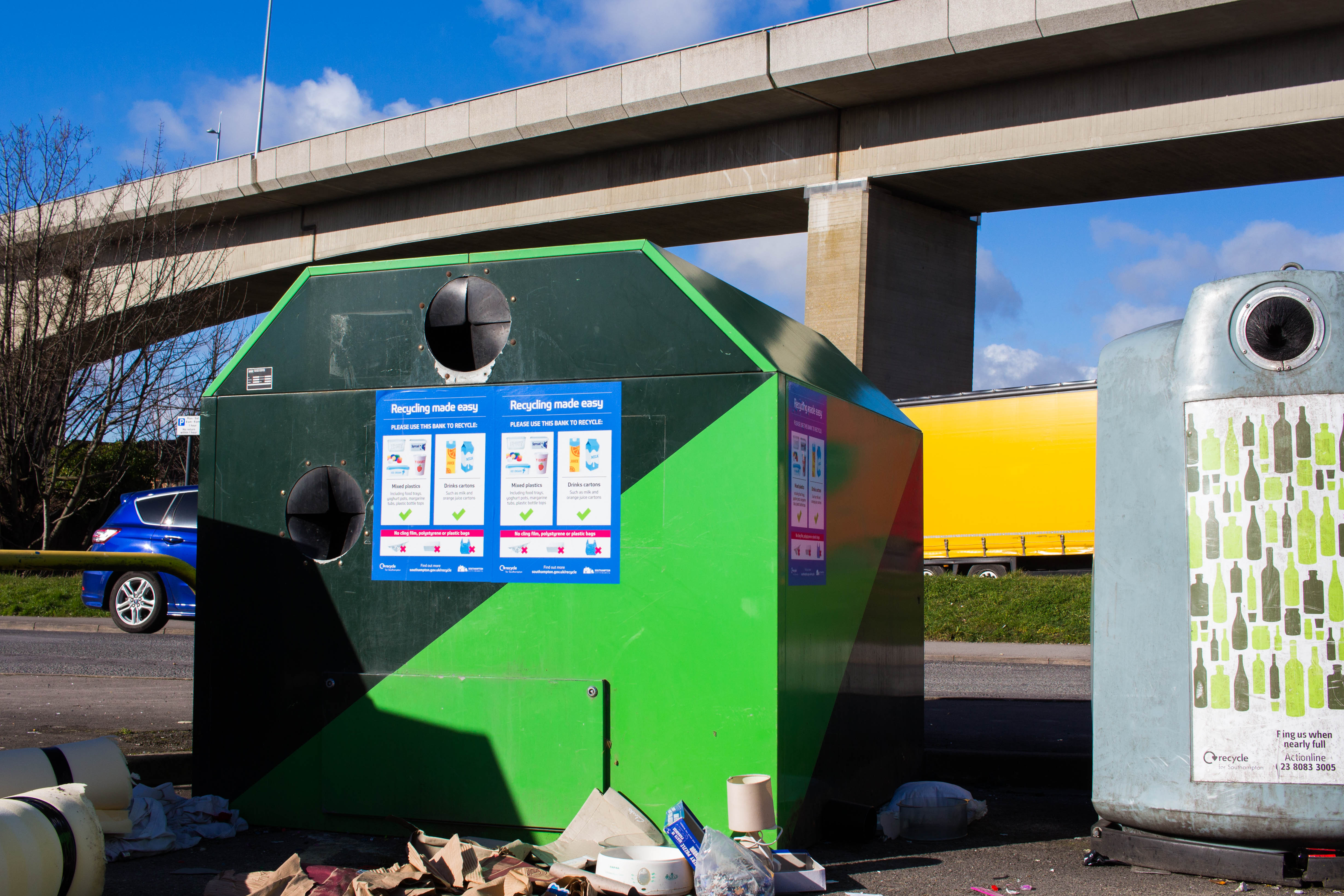 New recycling banks located in seven locations across Southampton.