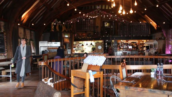 The upstairs restaurant at Dancing Man Brewery.