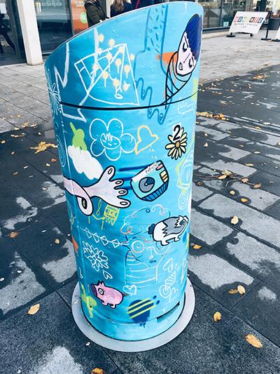 Painted bin in Cultural Corner.