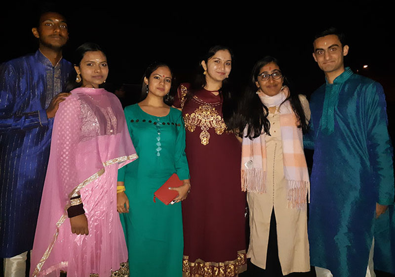 (Young people wearing tradition clothes and celebrating Diwali festival in Southampton on 7th of November)