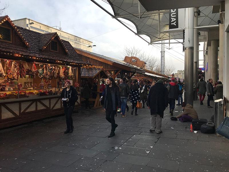 The homeless among Southampton's Christmas Market (above)