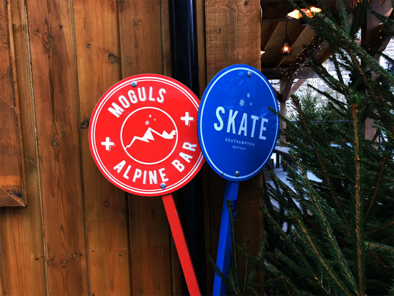 Two 'Skate Southampton' Christmas Poles to tell residents and Visitors what the activities are this Christmas season.
