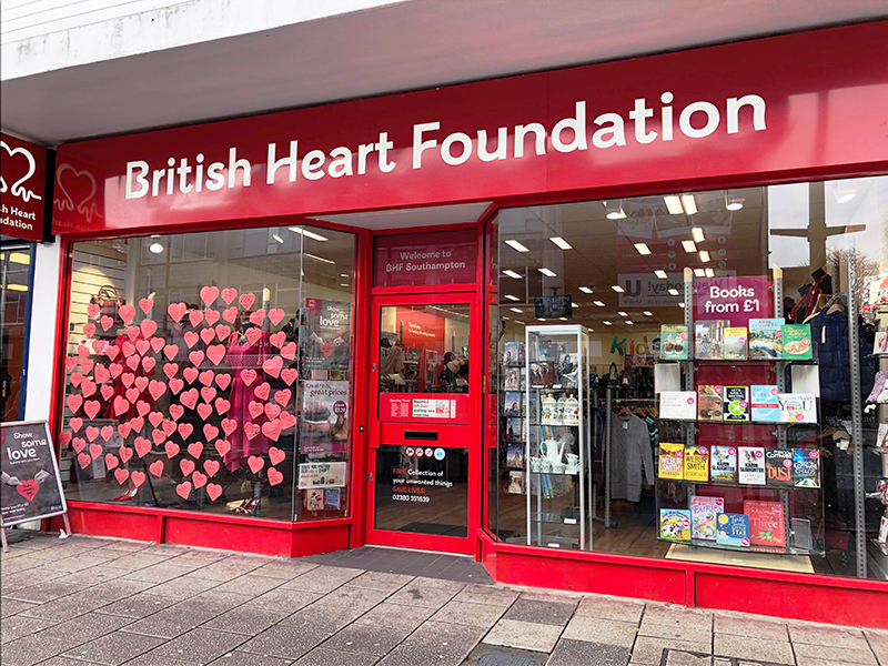 The shop window is coated in positive messages for those who've battled heart related illnesses.