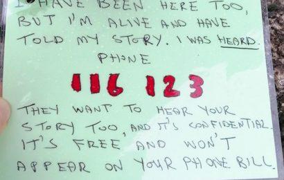 Suicide prevention notes left along Itchen Bridge by YMCA